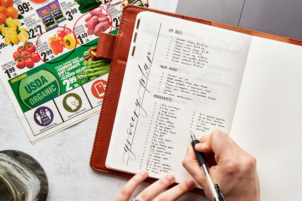 """A notebook with a page titled """"grocery plan."""" There are three blocks of text on the page - the top lists sale items, the middle block lists menu ideas, and the bottom block lists ingredients. A person is writing items into the ingredients list"""