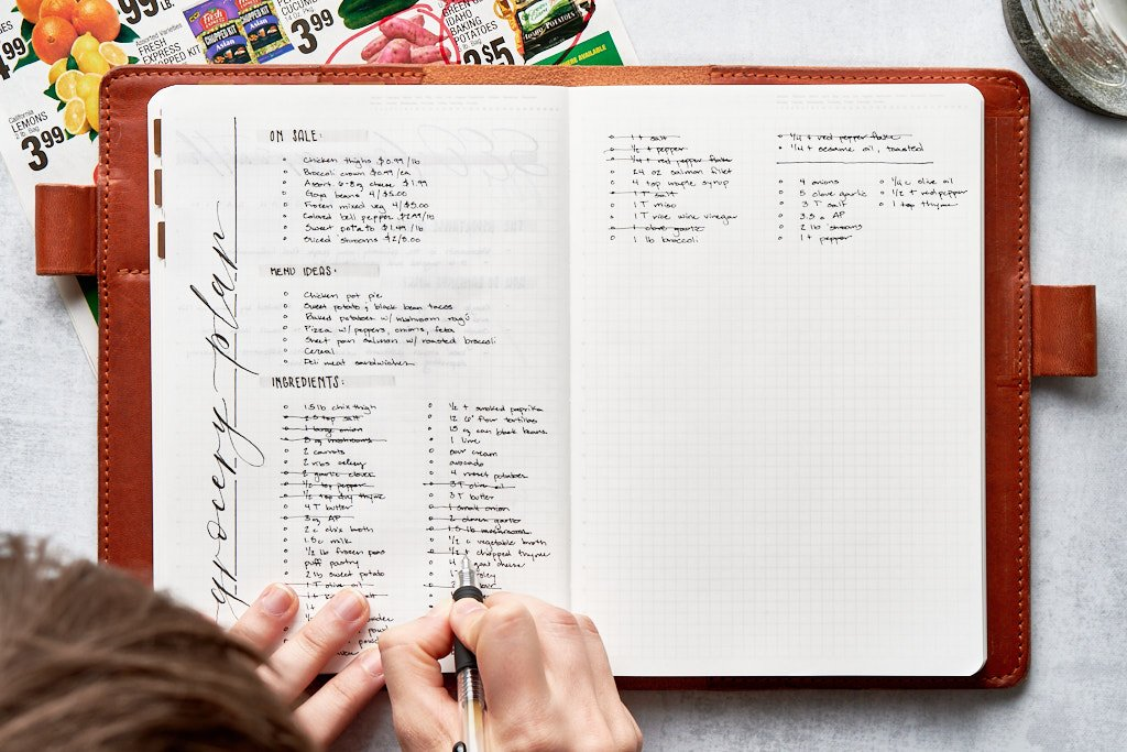 """A notebook with a page titled """"grocery plan."""" There are three blocks of text on the page - the top lists sale items, the middle block lists menu ideas, and the bottom block lists ingredients. A person is crossing off duplicate items in the ingredients list and compiling them together into a new list."""